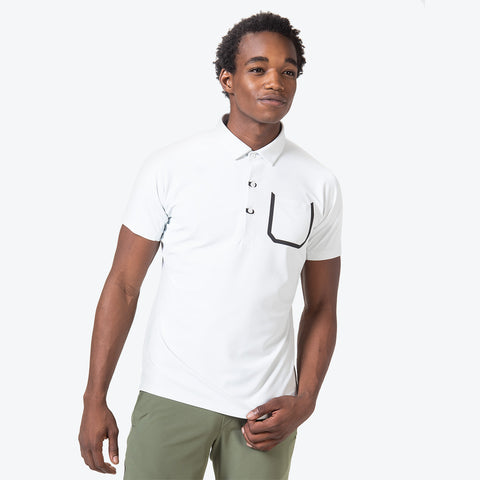 "{""caption"":""Model is 6'0\"", 32\"" Waist, Size Medium"",""color"":""White"",""alt"":""Men's UV Protection Short Sleeve Polo on model from the front in white""}"