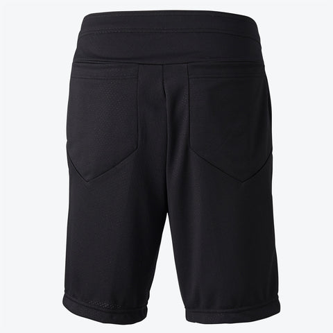 "{""color"":""Black"",""alt"":""Men's Mesh Training Shorts shown in black, off-model from the back""}"