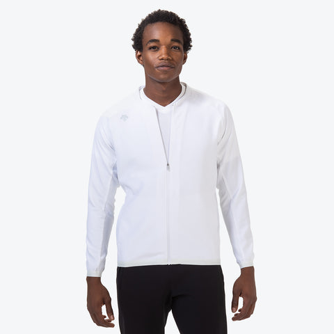 "{""color"":""White"",""alt"":""Men's UV Protection Jacket on model from the front in white""}"