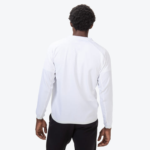 "{""color"":""White"",""alt"":""Men's UV Protection Jacket on model from the back in white""}"