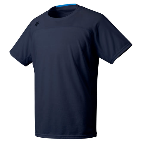 "{""color"":""Navy"",""alt"":""Men's Quick Dry Short Sleeve Running Shirt Off Model Front View in Navy""}"
