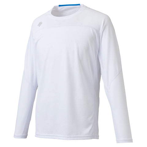 "{""color"":""White"",""alt"":""Men's Quick Dry Long Sleeve Running Shirt Off Model Front View in White""}"