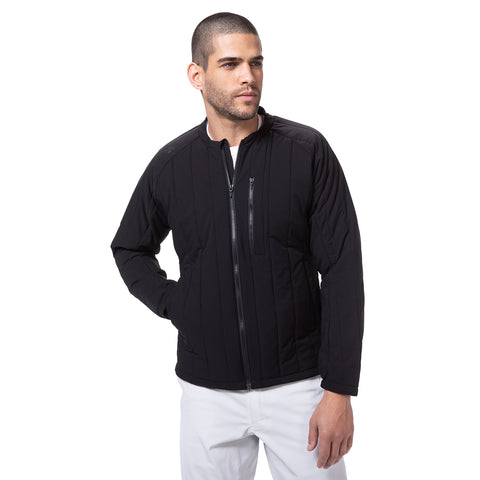 Stretch-Quilt Insulated Bomber Jacket