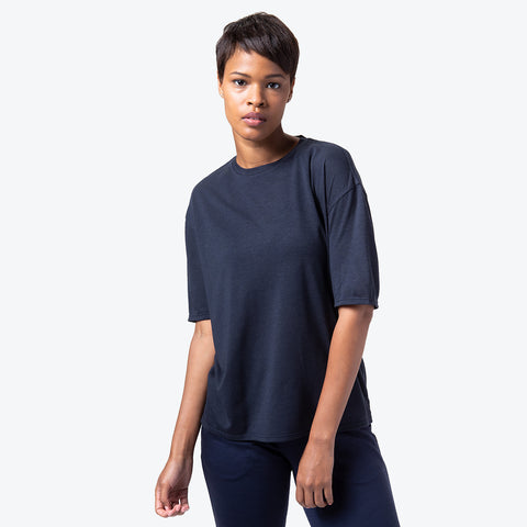 "{""color"":""Navy Melange"",""alt"":""Manerd Wool Soft Touch Relaxed Fit Tee in Navy Melange Off Model Front View""}"