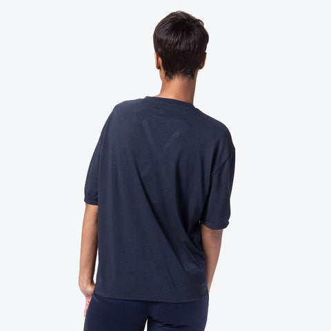 "{""color"":""Navy Melange"",""alt"":""Manerd Wool Soft Touch Relaxed Fit Tee in Navy Melange Off Model Back View""}"