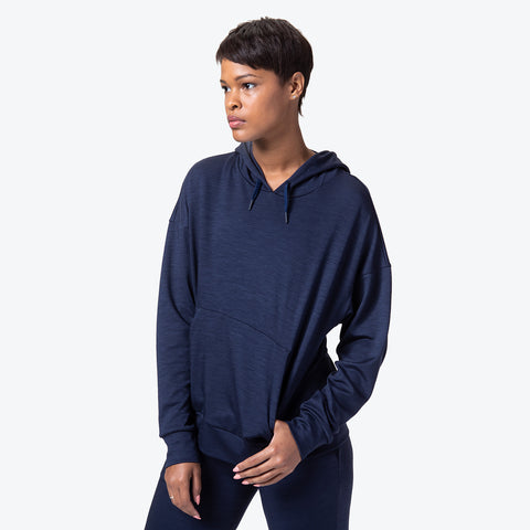 "{""color"":""Navy Melange"",""alt"":""Manerd Wool Soft Touch Pullover Hoodie on model front view""}"