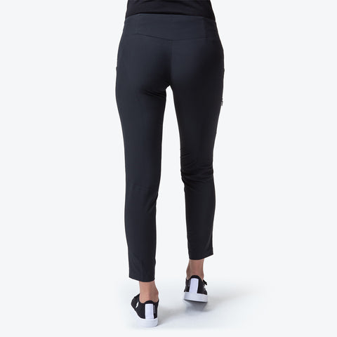 "{""caption"":""Model is 5'8\"", Size Small"",""color"":""Black"",""alt"":""Women's Soft Stretch Ankle Pants on model from the back""}"
