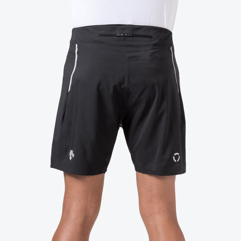 "{""caption"":""Model is 6'0\"", 31\"" Waist, Size Medium"",""color"":""Black"",""alt"":""Men's Stealth Running Shorts on model from back in black""}"
