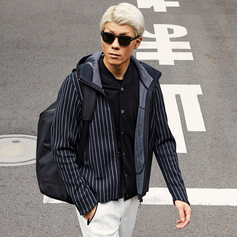 "Todd Snyder x Descente | SYNCHKNIT Jacket ""Climate"" in Chalk Stripe"