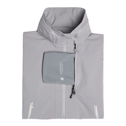 "{""color"":""Fog Gray"",""alt"":""DSPTCH x Descente Packable Jacket, Displayed as Folded""}"