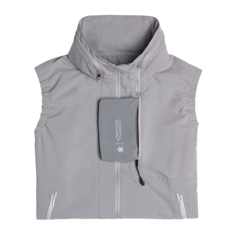 "{""color"":""Fog Gray"",""alt"":""DSPTCH x Descente Packable Waterproof Vest for Travel in Fog Gray"""