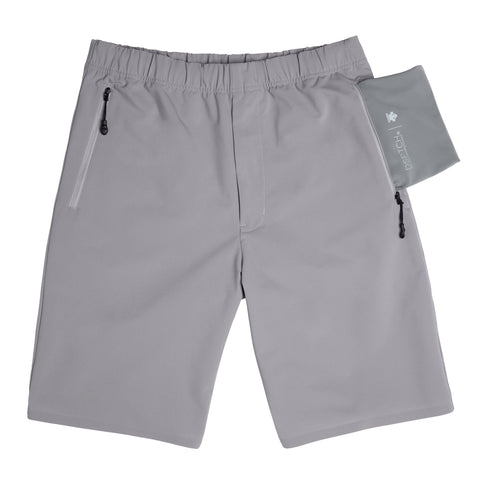 "{""alt"":""DSPTCH x Descente Packable Shorts for Travel and Hiking, off model with folded pocket flipped inside out to show packable component""}"