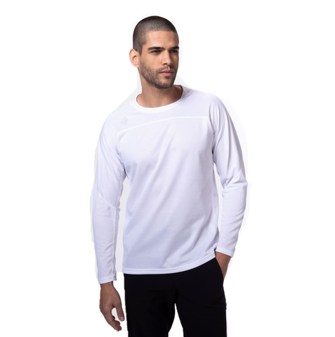 "{""caption"":""Model is 5'10.5\"", 32\"" Waist, Wearing A Size Medium"",""color"":""Black"",""alt"":""Men's Quick Dry Long Sleeve Running Shirt On Model Front View""}"
