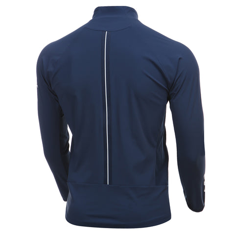 Athletic Tricot Fleece Jacket in Navy Off Model Back View