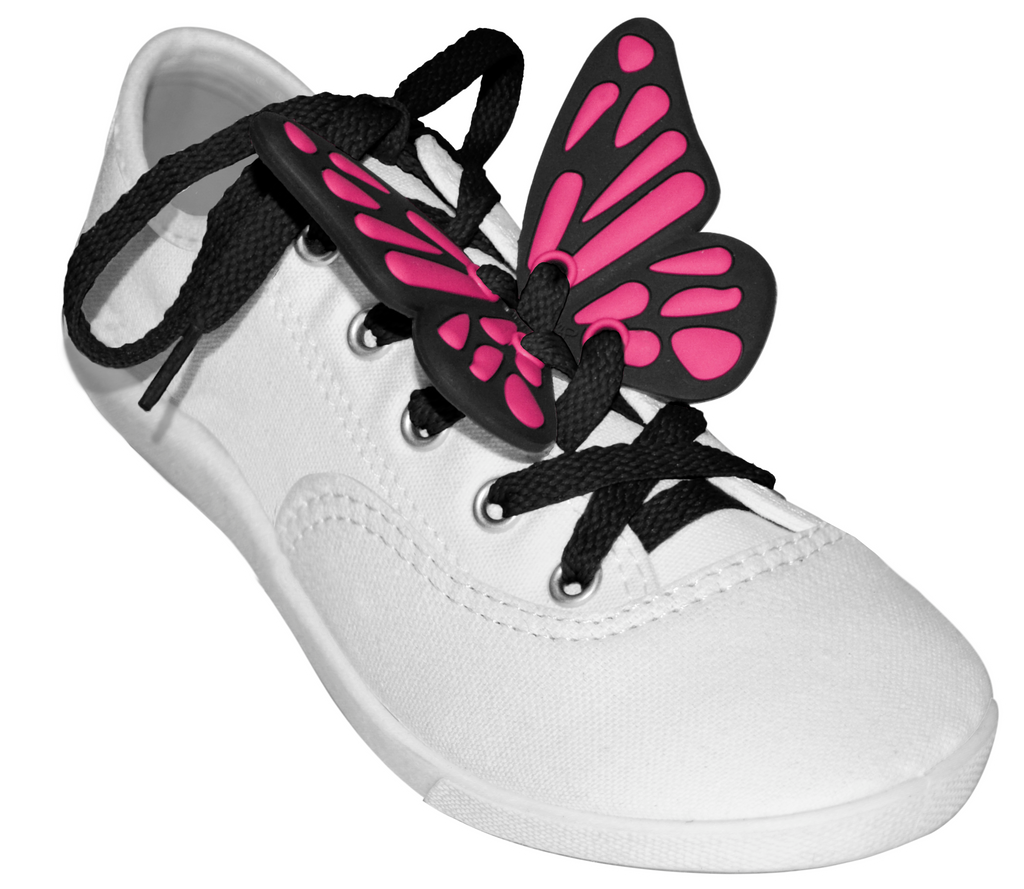 ShoeFly™ Funsets™ | Butterflies Black & Hot Pink | Black Lace