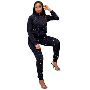 Pearl Beading Casual Tracksuit