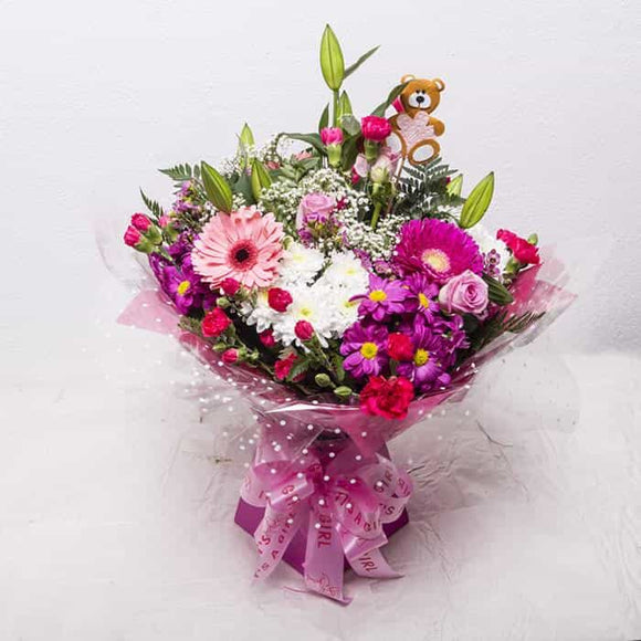 <p>This pretty gift is a lovely way to celebrate the birth of a baby girl. A collection of softly coloured pinks and creams creating a beautiful hand-tied bouquet of favourite flowers.</p><p>We expertly hand-tie these blooms and wrap in pink wrapping before placing in a pretty pink presentation box.</p><p>The proud parents will be tickled pink and are sure to love it.</p>