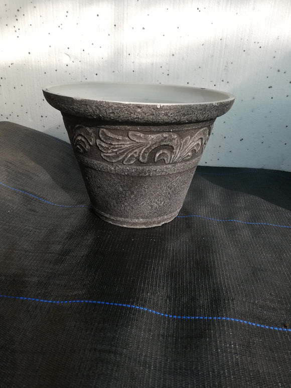 Stone effect plastic pot