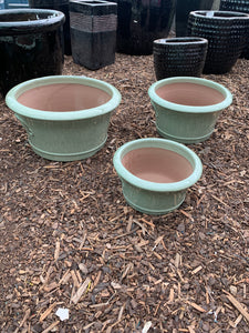 Flared Low Lime Green Planter Small