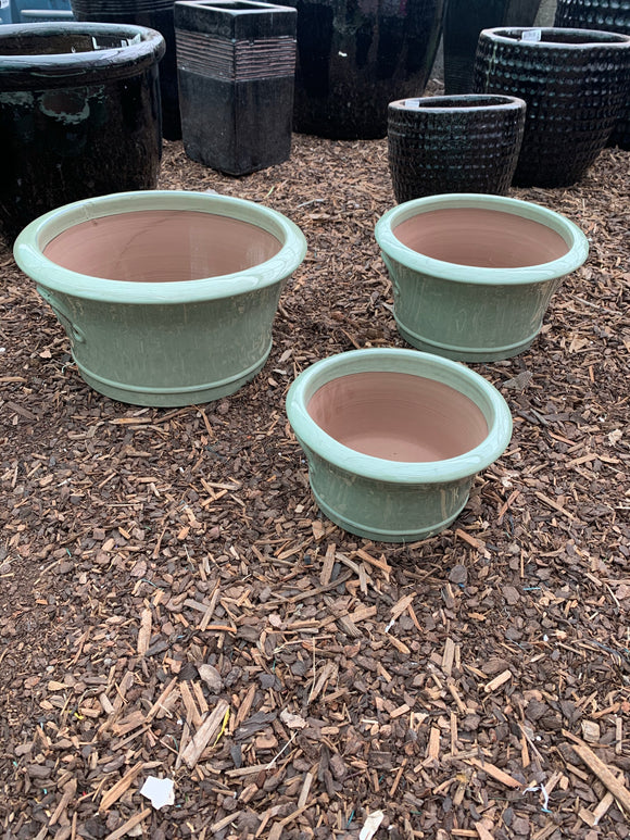 Flared Low Lime Green Planter Large
