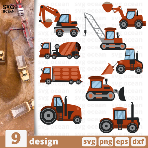 Tractors and excavators SVG vector bundle - Svg Ocean