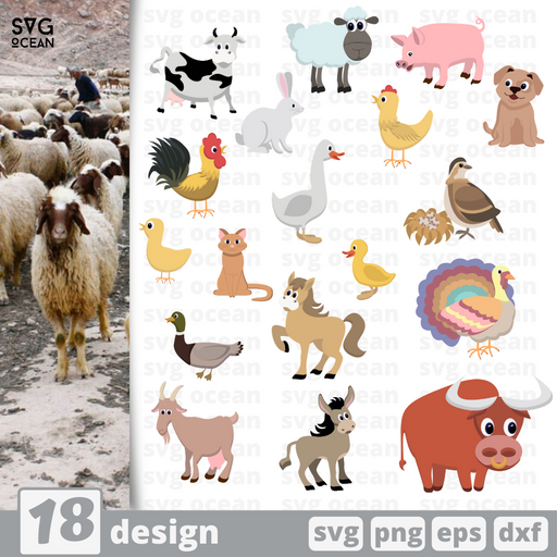 Farm animals SVG vector bundle - Svg Ocean