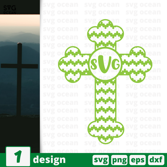Cross monogram vector bundle (svg, dxf, png, eps).