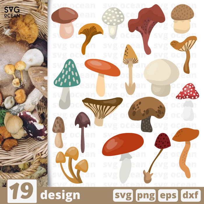 Mushrooms SVG vector bundle - Svg Ocean