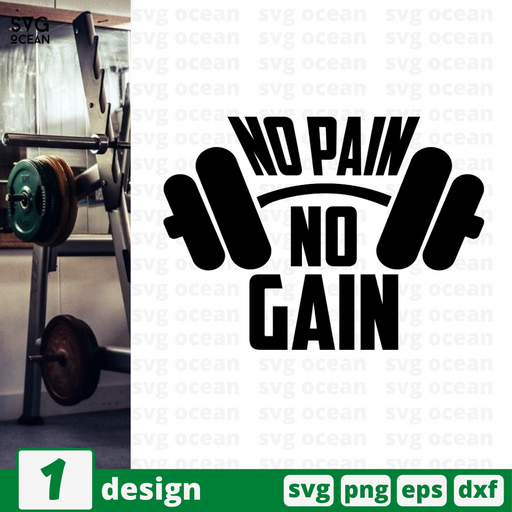 No pain  no gain SVG vector bundle - Svg Ocean