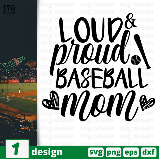 Loud&Proud Baseball mom SVG vector bundle - Svg Ocean