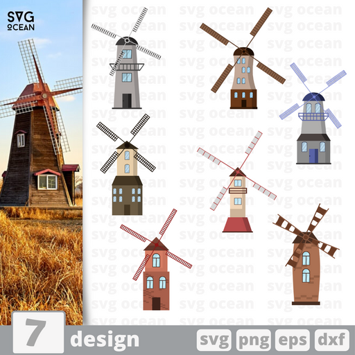 Windmill SVG vector bundle - Svg Ocean