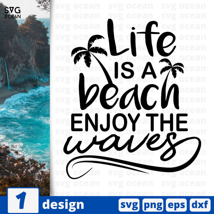 Life is a beach enjoy the waves SVG vector bundle - Svg Ocean