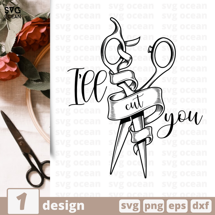 Free Scissors quote SVG printable cut file Ill cut you- Svg Ocean