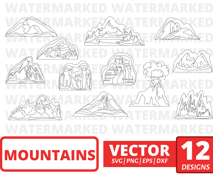 Mountains SVG vector bundle (svg, dxf, png, eps). Colored + Silhouette + Outline.