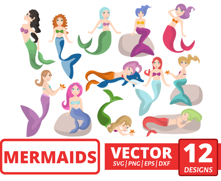 Mermaids SVG vector bundle - Svg Ocean