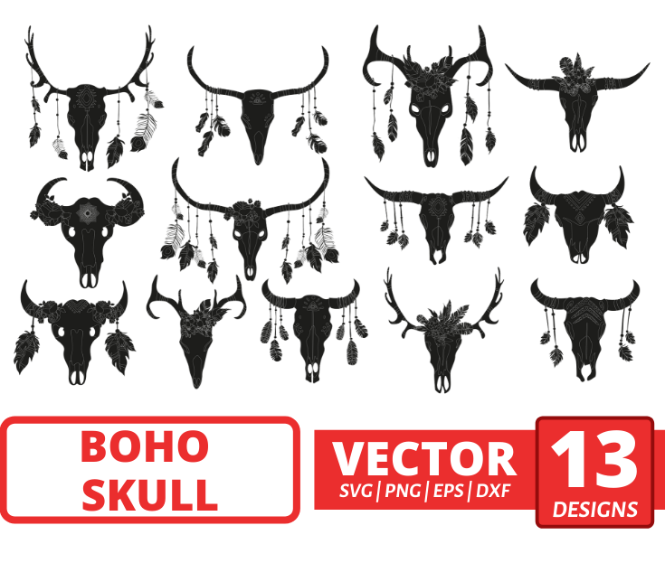 Boho skull SVG bundle. Colored + Silhouette + Outline.