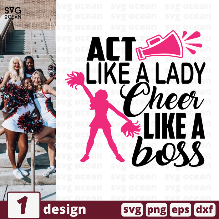 Act like a lady Cheer like a boss SVG vector bundle - Svg Ocean