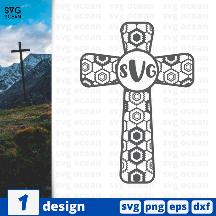 Cross monogram SVG vector bundle - Svg Ocean