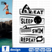 Eat sleep swim repeat SVG vector bundle - Svg Ocean