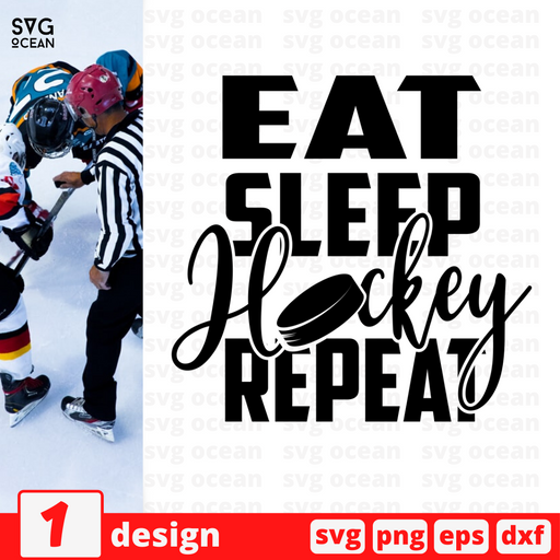 Eat Sleep Hockey Repeat SVG vector bundle - Svg Ocean