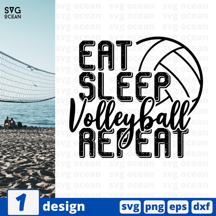 Eat Sleep Volleyball Repeat SVG vector bundle - Svg Ocean