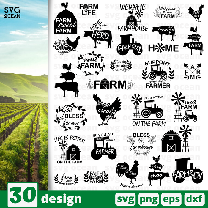 Farm quote SVG bundle - Svg Ocean