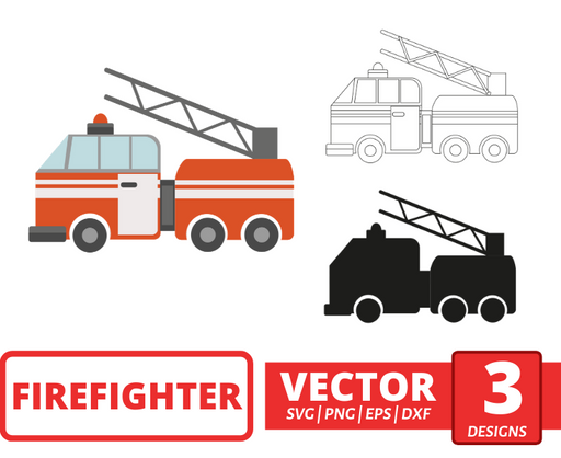 Fire engine SVG vector bundle - Svg Ocean