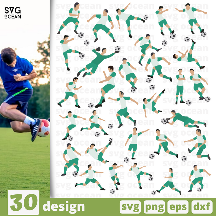 Soccer player SVG vector bundle - Svg Ocean