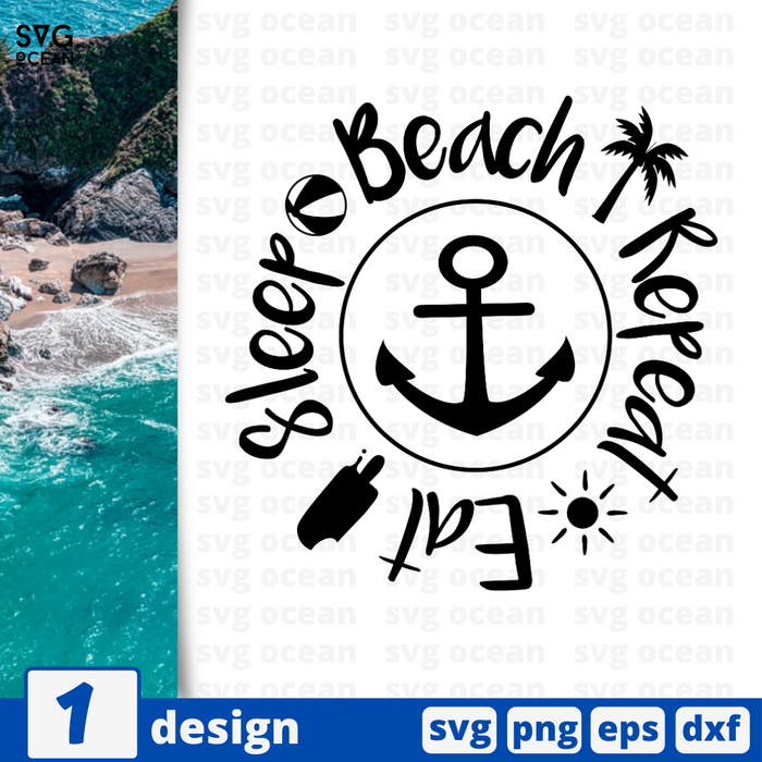Eat  Sleep Beach  Repeat SVG vector bundle - Svg Ocean