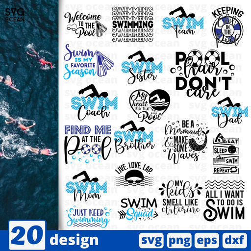 Swimming quotes SVG vector bundle - Svg Ocean