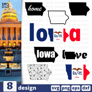 Iowa SVG vector bundle - Svg Ocean