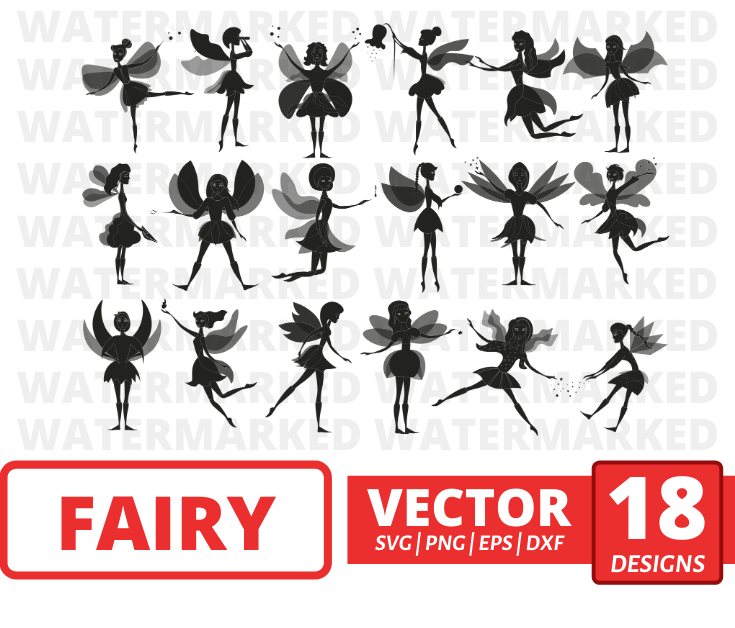 Fairy vector bundle (svg, dxf, png, eps). Colored + Silhouette