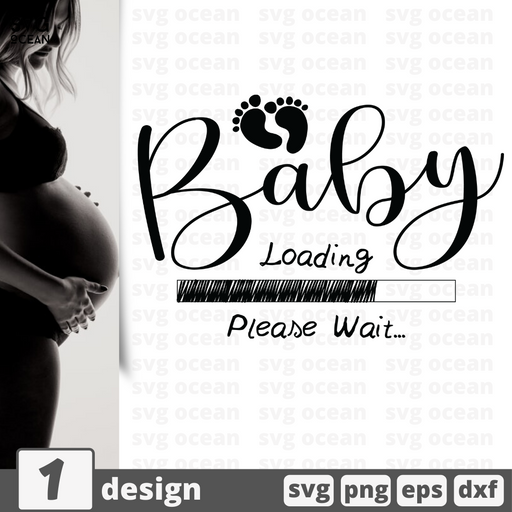 Free pregnancy quote SVG printable cut file Baby Loading - Svg Ocean