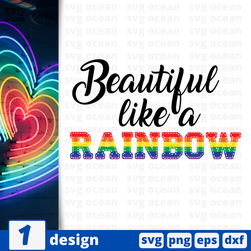 Beautiful like a rainbow SVG vector bundle - Svg Ocean